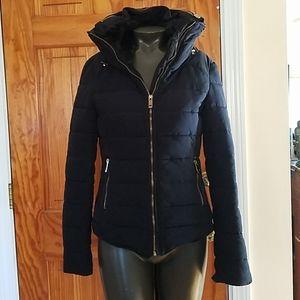 ZARA Basic XS Black Down Puffer Jacket Hidden Hood